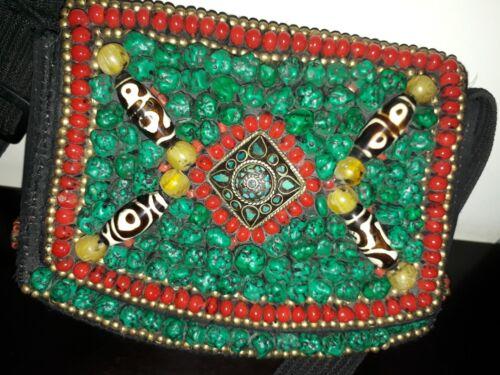 Old Antique Gemstones Tibetan Handbag