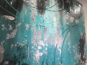 Large teal silver painting