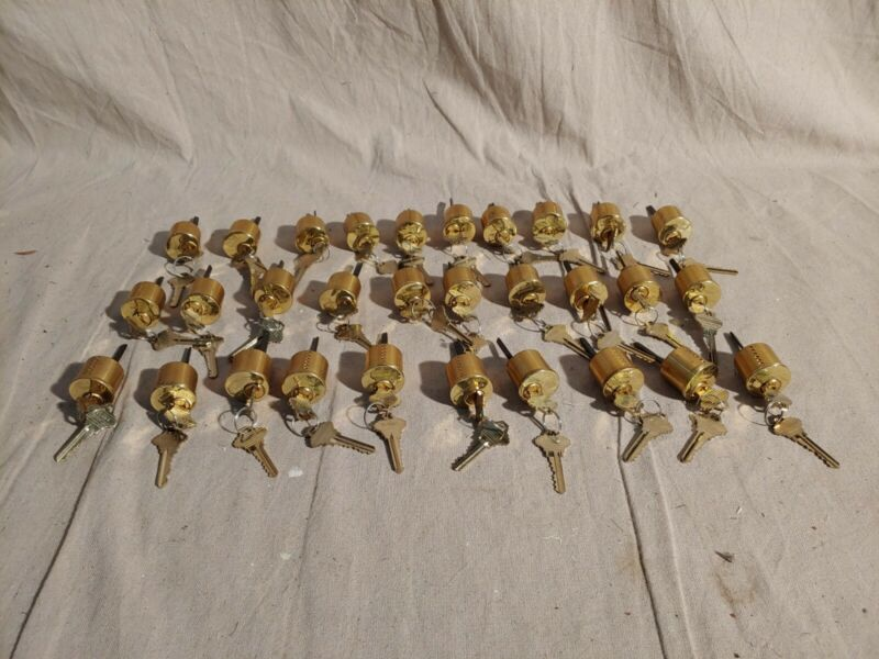 Lot of 41 Dorma mortise lock cylinders with keys