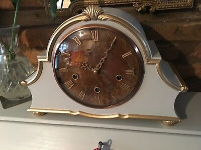 Vintage Oak Cased Chiming Mantel clock circa 1940's - Repainted Shabby Chic
