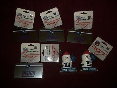Lot of 6 NY New York Giants NFL Football Christmas/Holiday Ornaments - Football Christmas Ornaments