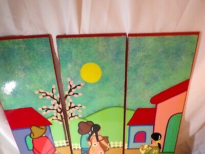 3 Panel wall hanging, Luis Torres, Beautiful Simplistic, Bold Colors # 7157
