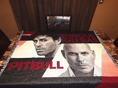 Pitbull & Enrique Iglesias Rare VIP Knitted Throw Blanket Wall Display 2014 Tour