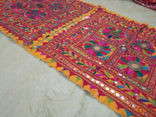 Authentic Pair Of Kutch Banjara Tribal Embroidery Chakla Wall Hanging Tapestry