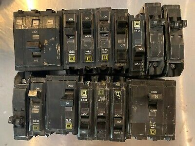 Lot Of 15 Miscellaneous Square D Circuit Breakers