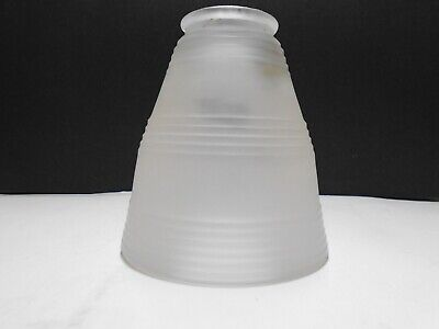 """Vintage Frosted Glass Lamp Shade with Art Deco Ringed Design 2 1/4"""" Fitter EUC"""
