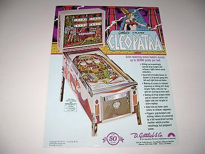 1977 Gottlieb Pinball Cleopatra Electo-Mechanical Original sales flyer brochure