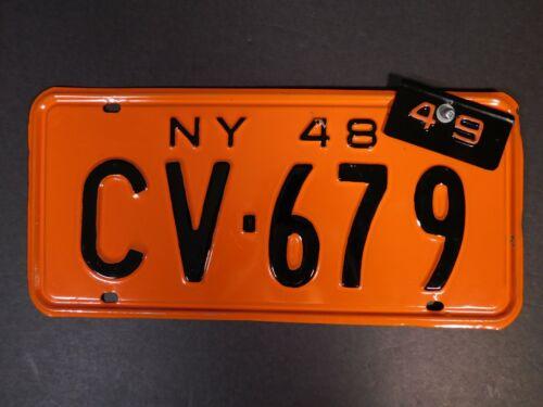 Pumpkin Orange New York 1948 License Plate - Excellent Condition!