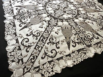 """HOSPITALITY Antique Madeira DENSE HAND EMBROIDERY Cutwork Linen Tablecloth 49"""""""