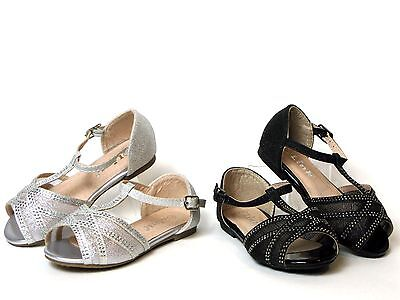 New Baby Toddler Girls Dressy Flats Pageant Shoes Studded Rhinestone Sandals](Girls Dressy Shoes)