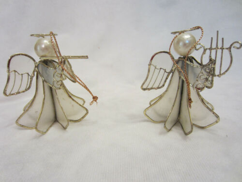 2 Vintage Natural Capiz Shell Angel Ornament Gold Colored Trim & Halo Musical