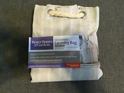 Better Home & Garden GREY LINEN  STRIPE draw string LAUNDRY BAG CARRY STRAP  (Best Carry On Garment Bag)