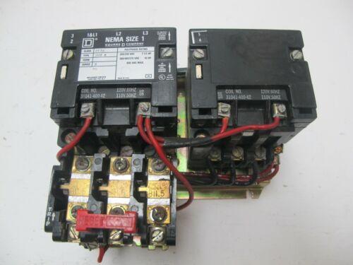 Square D 8736 SC0 8 Reversing Motor Starter Size 1 120V Coil 8736 SCO 8 Sz1