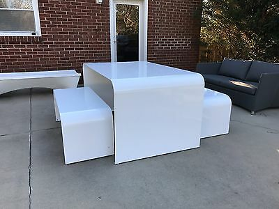 Modern space age picnic Table &bench outdoor Kartell Umbo knoll industrial for sale  Charlotte
