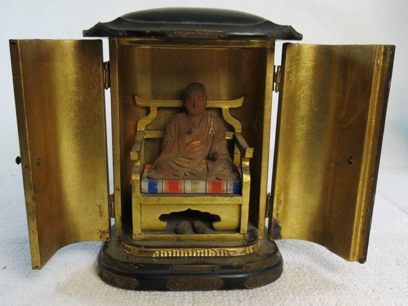 Antique Japanese Kukai Buddha Zushi Traveling Carved Wood Shrine