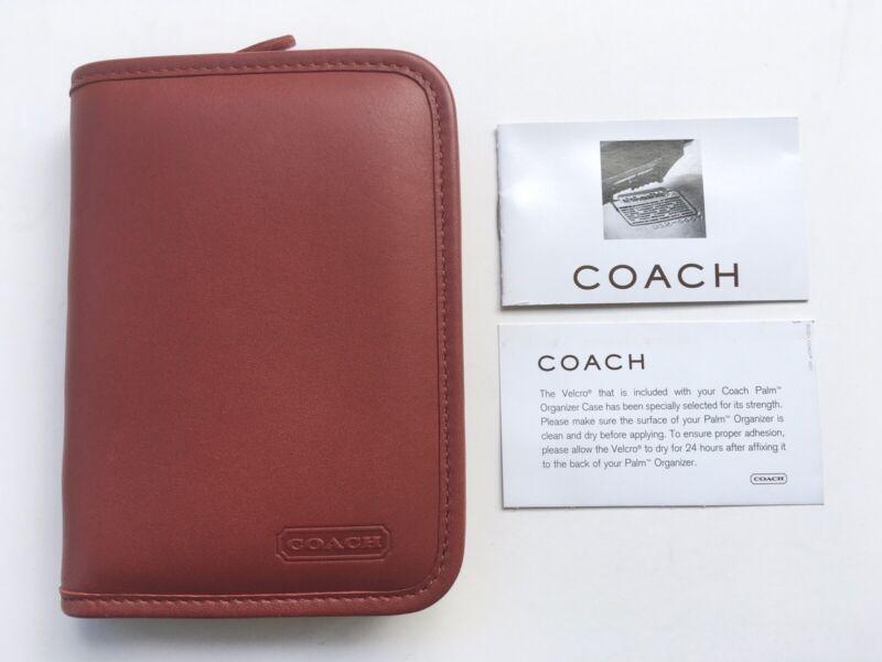 Coach Vintage Red Leather Zip Around Palm Organizer Card Tech Case 4565