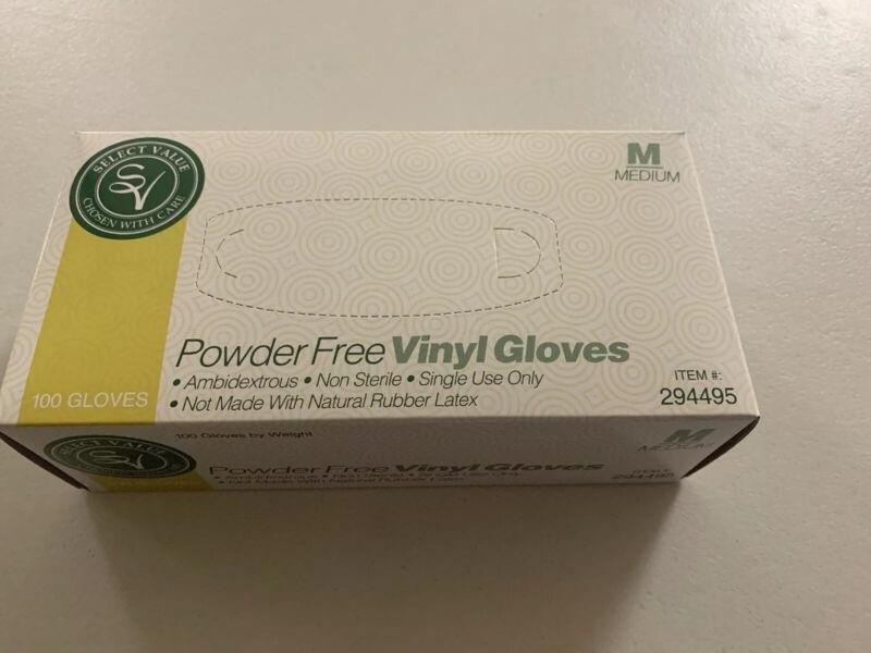 Vinyl Gloves - Powder Free, Latex Free, 100 Gloves, Size M