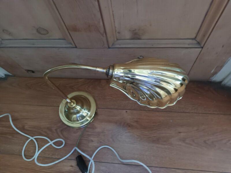 Antique Brass Desk Table Lamp Shell, Art Nouveau Flexor Lamp