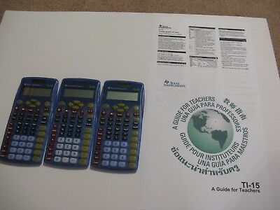 Lot Of 3 TI-15 Solar Powered Calculators TESTED & WORKING WELL Texas Instrument