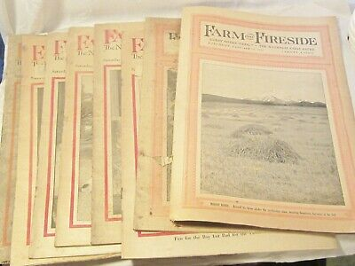 """ANTIQUE """" FARM AND FIRESIDE """" THE NATIONAL FARM PAPER 8 ISSUES FROM 1915"""