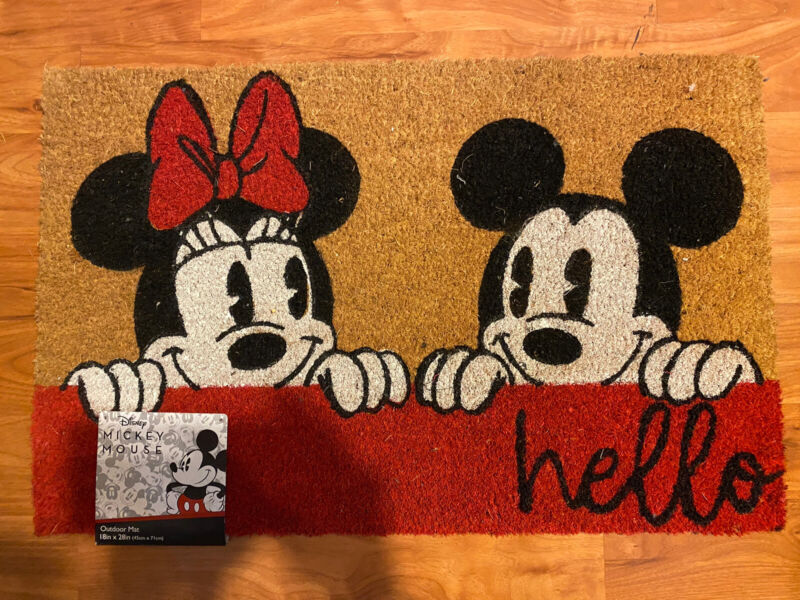 """Disney Mickey And Minnie Mouse """"hello"""" Outdoor Coir Floor Mat 18in X 28in"""