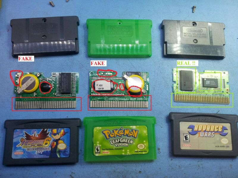 Here you can see the front of 2 FAKE games (Pokemon green / MegaMan) and one real one (Advance wars)