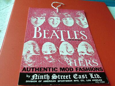 "1966  BEATLES  ORIGINAL  LTD  EDITION   MOD  FASHIONS  CLOTHING TAG  ""HERS"" PINK"