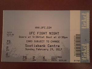 1 UFC ticket. 2nd row from cage.