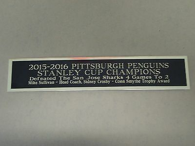 Pittsburgh Penguins 2015-16 Stanley Cup Nameplate For a Hockey Jersey Case 1.5X6