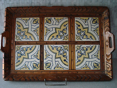 Vintage MEXICAN 6 TILE CARVED WOOD FRAME LARGE HANDLED SERVING TRAY MEXICO