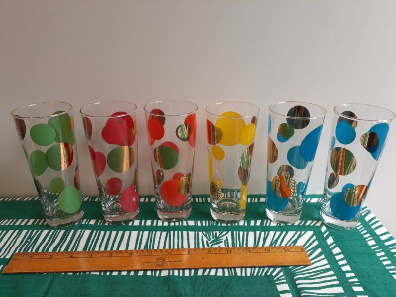 """Russel Wright 6 Tall Highball Glasses Eclipse MCM multiple colors Preowned 7"""""""