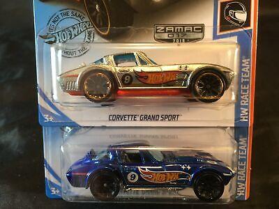 Hot Wheels 2019 RLC Factory Set Lot of 2 Corvette Grand Sport ZAMAC & Blue