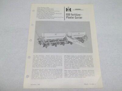 International No. 600 Fertilizer Planter Carrier Sales Reference Brochure