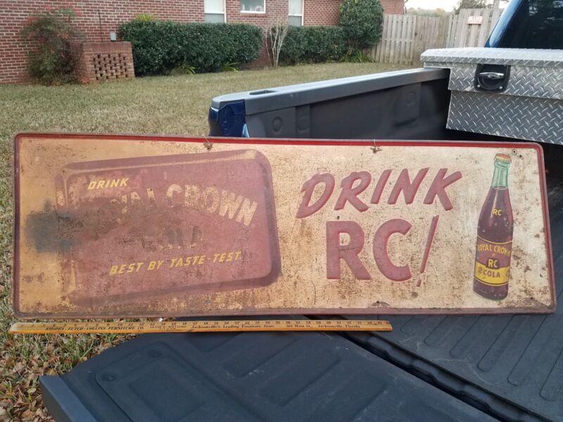 Large 54x18 Vintage Embossed Drink RC Cola Royal Crown Soda Metal Sign R C