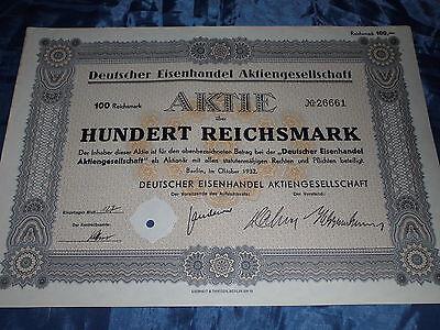 1081 : histor. Wertpapier / Aktie , Deutscher Eisenhandel , Oktober 1932 / 25638