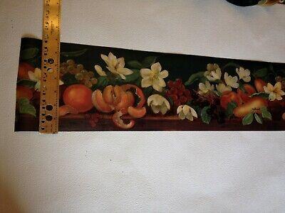 FLOWERS FRUITS & ORANGE PEELS ON DEEP GREEN  PREPASTED WALLPAPER BORDER BI4438-B
