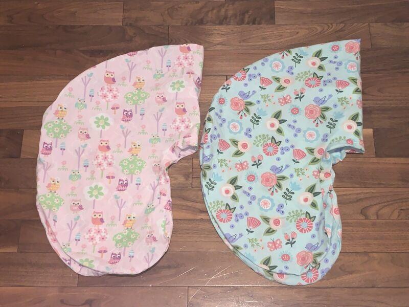 Boppy Pillow Nursing Pillow Set of 2 - Floral Owls Green Pink Blue Baby