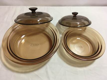 Corning Ware Visions Cookware Amber Glass V-32-B & V-30-B