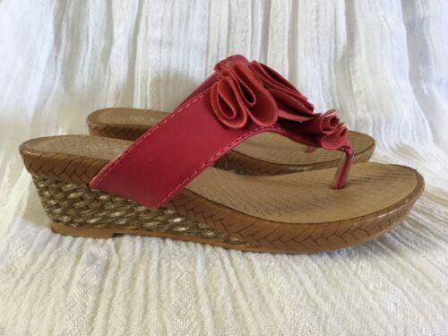 Children Kids Red Wedge Heels Sandals Slip On Girls Size 10