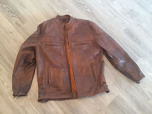 Brown Leather Motorcycle Jacket XXL tall