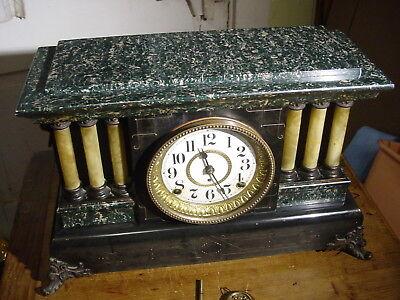 Antique Seth Thomas 1900 Green Adamantine 6 Column Mantel Clock Working Well