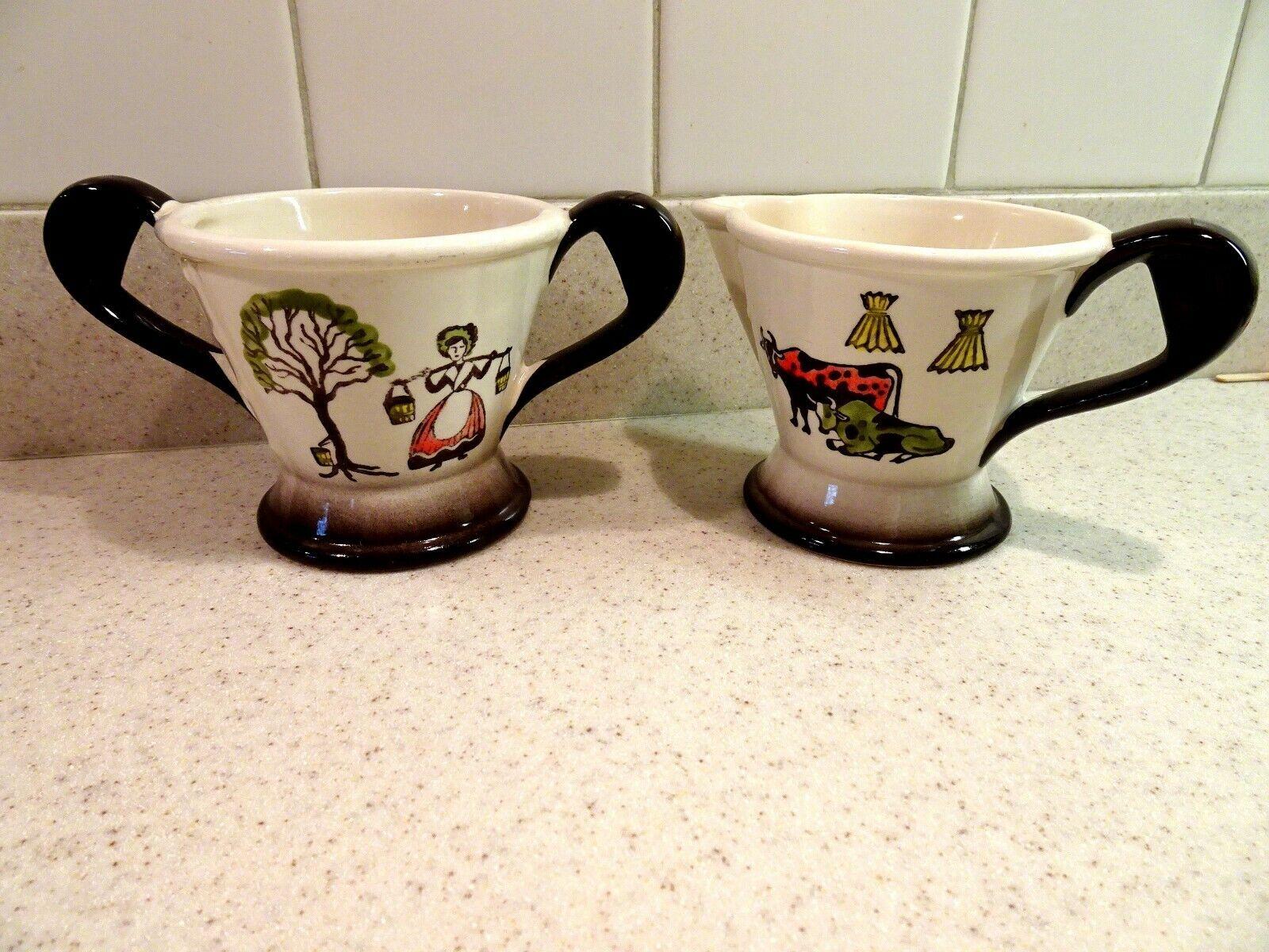 Vtg Metlox Poppytrail Homestead Provincial Cream Sugar Bowl California Pottery - $6.99