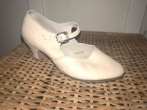 Beige dancing shoes with heal. ONLY USED ONCE