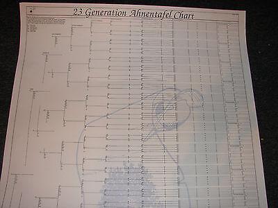 1   23 Generation Ahnentafel Genealogy Charts 28 X 39 Folded
