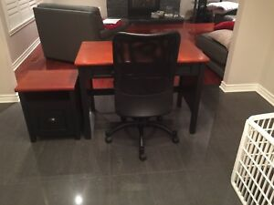Office desk, drawer and chair