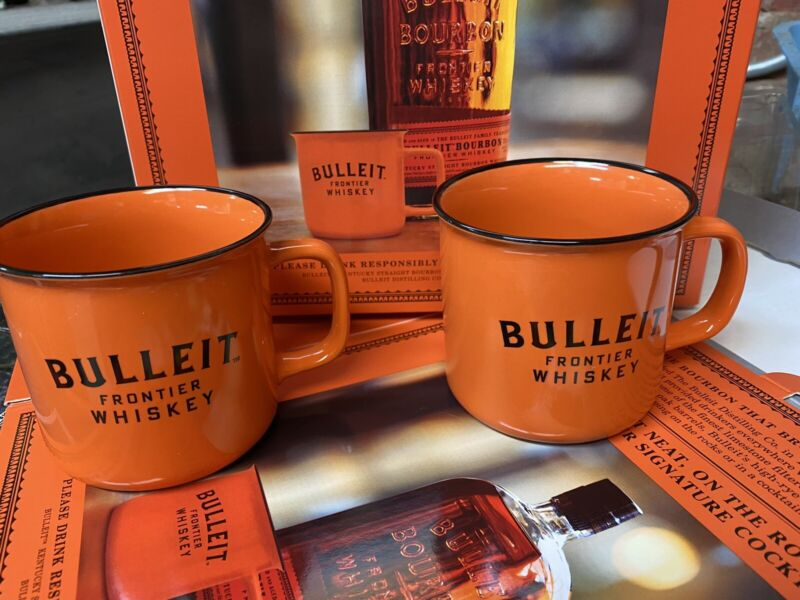 BULLEIT BOURBON CERAMIC ORANGE MUG CUPS (SET OF 2)
