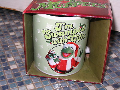 DISNEY KERMIT THE FROG MUG THE MUPPETS I'M SWAMPED WITH GIFTS BRAND NEW BOXED