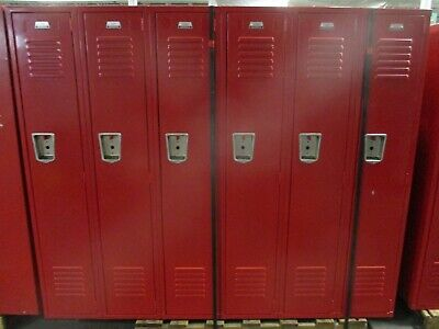 Misc. Brand Locker Red Section Of 6 Lockers Used