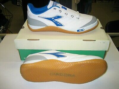 Diadora Sala Indoor Soccer Shoe White/ Blue Diadora Indoor Soccer