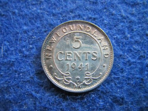 1941 C Canada Newfoundland 5 Cents Silver - Hazy Toned with some color AU